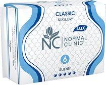 """Normal Clinic Classic Silk & Dry Super - Дамски превръзки с крилца в опаковка от 6 броя от серията """"Classic"""" - дамски превръзки"""