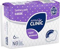 """Normal Clinic Classic Cotton & Velvet Super - Дамски превръзки с крилца за чувствителна кожа в опаковка от 6 броя от серията """"Classic"""" - дамски превръзки"""
