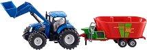 Трактор с миксиращо ремарке - New Holland - играчка