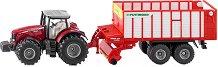 """Трактор с ремарке за събиране на сено - Massey Ferguson - Метална играчка от серията """"Farmer: Tractors with trailers""""  - играчка"""