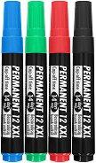 Перманентни маркери със скосен връх - Ico 12 XXL - Комплект от 4 броя