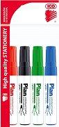 Маркери за бяла дъска с объл връх - Ico Plan - Комплект от 4 цвята