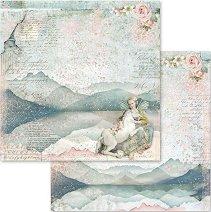 Хартия за скрапбукинг - Момиче и еднорог - Размери 30.5 х 30.5 cm