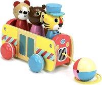 Автобус с пътници - Дървена играчка за дърпане -