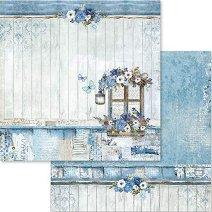 Хартия за скрапбукинг - Сини цветя - Размери 30.5 х 30.5 cm