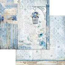 Хартия за скрапбукинг - Сини надписи - Размери 30.5 х 30.5 cm