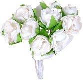 Декоративен елемент - Бяла роза - Комплект от 12 броя