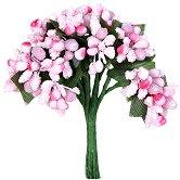 Декоративен елемент - Розови цветя - Комплект от 12 броя