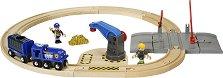 """Полицейски влак - Дървена играчка с аксесоари от серията """"Brio: Комплекти с релси"""" -"""