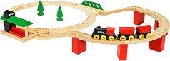 """Влакче с релси - Deluxe Classic - Дървена играчка с аксесоари от серията """"Brio: Комплекти с релси"""" - играчка"""