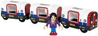 Влак - Метро - Дървена играчка със светлинен и звуков ефект -
