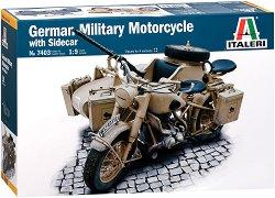 Немски военен мотоциклет - German Military Motorcycle with sidecar - Сглобяем модел -