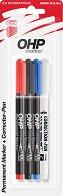 Перманентни маркери - Ico OHP М 1 cm - Комплект от 3 цвята с коректор