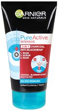 Garnier Pure Active Intensive 3 in 1 - Почистващ гел, ексфолиант и маска за лице против черни точки - маска