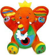 Плюшено слонче - Бебешка играчка с вибрация и огледалце - играчка