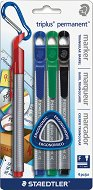 Перманентен маркер с объл връх - Triplus - Комплект от 4 цвята