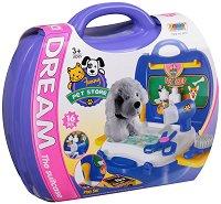 Фризьорски салон за кучета - Детски комплект с аксесоари в куфар -