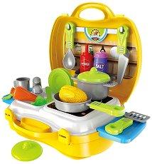 Кухня - Детски комплект с аксесоари в куфар - несесер