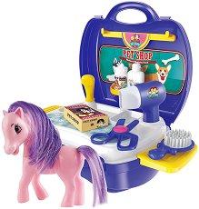 Фризьорски салон с конче - Детски комплект с аксесоари в куфар - играчка