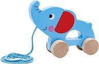 Слонче - Дървена играчка за дърпане -