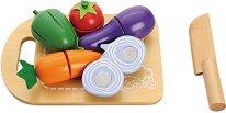 Зеленчуци - Детски дървен комплект с ножче за рязане - играчка
