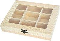Дървена кутия с 9 разделения - Предмет за декориране с размери 22 / 17.7 / 4 cm