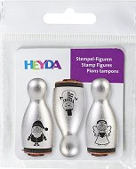 Гумени печати - Дядо Коледа, снежен човек и ангелче - Комплект от 3 броя -