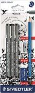 Тънкописци - Pigment Liner - Комплект от 3 броя с подарък молив, острилка и гума