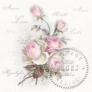 Салфетки за декупаж - Рози и ръкопис - Пакет от 20 броя