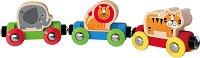 Влак с животните от джунглата - Детска дървена играчка -