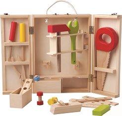 Детски дървени инструменти в кутия - количка
