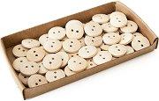 Декоративни дървени копчета - Комплект от 50 броя с диаметър 15 mm