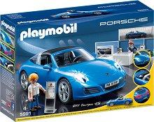 Шоурум с кола - Porshe 911 Targa 4S - Детски конструктор със светлнни ефекти -