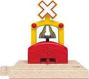 Автоматичен звънец за влак - Детски дървен аксесоар за релсов път -