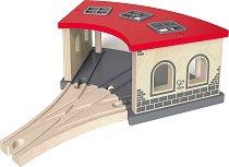 Влаково депо - Детски дървен аксесоар за релсов път - играчка