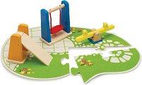 Детска площадка - Комплект дървени аксесоари за двор на къща за кукли -