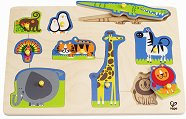 Диви животни - Детски дървен пъзел с дръжки -