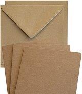 Картончета за картички c пликове - Крафт - Комплект от 10 броя