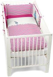 Спален комплект за бебешко креватче - Бухалчето Emilie - 3 части -