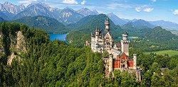 Изглед към замъка Нойшванщайн, Германия - панорама - пъзел