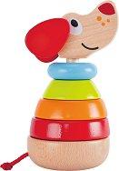 Куче с рингове - Дървена играчка за нанизване -