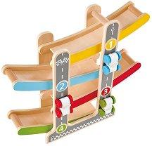 Писта с колички - Детска играчка от дърво -