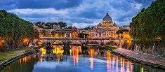 Изглед към базиликата Свети Петър, Ватикана - панорама -