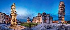 Пиаца дей Мираколи и кулата в Пиза - панорама - пъзел