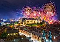 Заря над замъка Вавел, Полша -