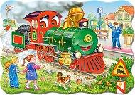 Зеленият локомотив - Пъзел в нестандартна форма с едри елементи - пъзел