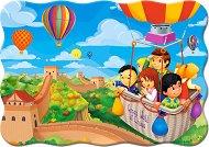 С балон над Великата китайска стена - Пъзел в нестандартна форма с едри елементи - пъзел