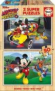 Мики Маус и приятели състезатели - 2 пъзела с дървени елементи -