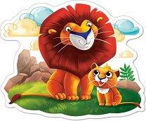 Малко лъвче с баща си - Пъзел в нестандартна форма с едри елементи -