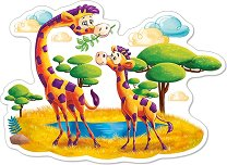 Жирафи в саваната - Пъзел в нестандартна форма с едри елементи -